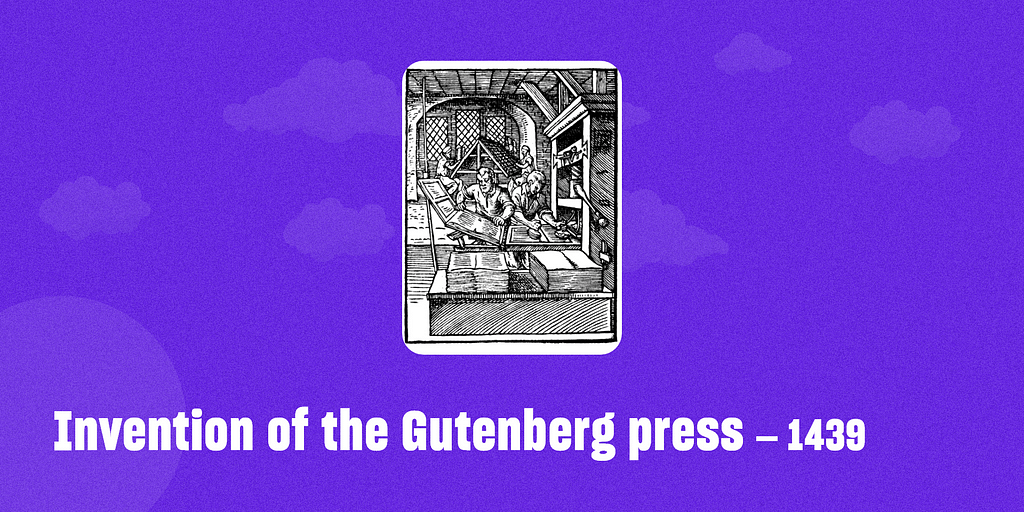Invention of the Gutenberg press – 1439