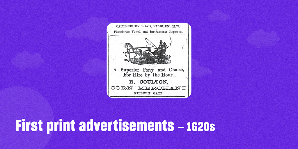 First print advertisements – 1620s